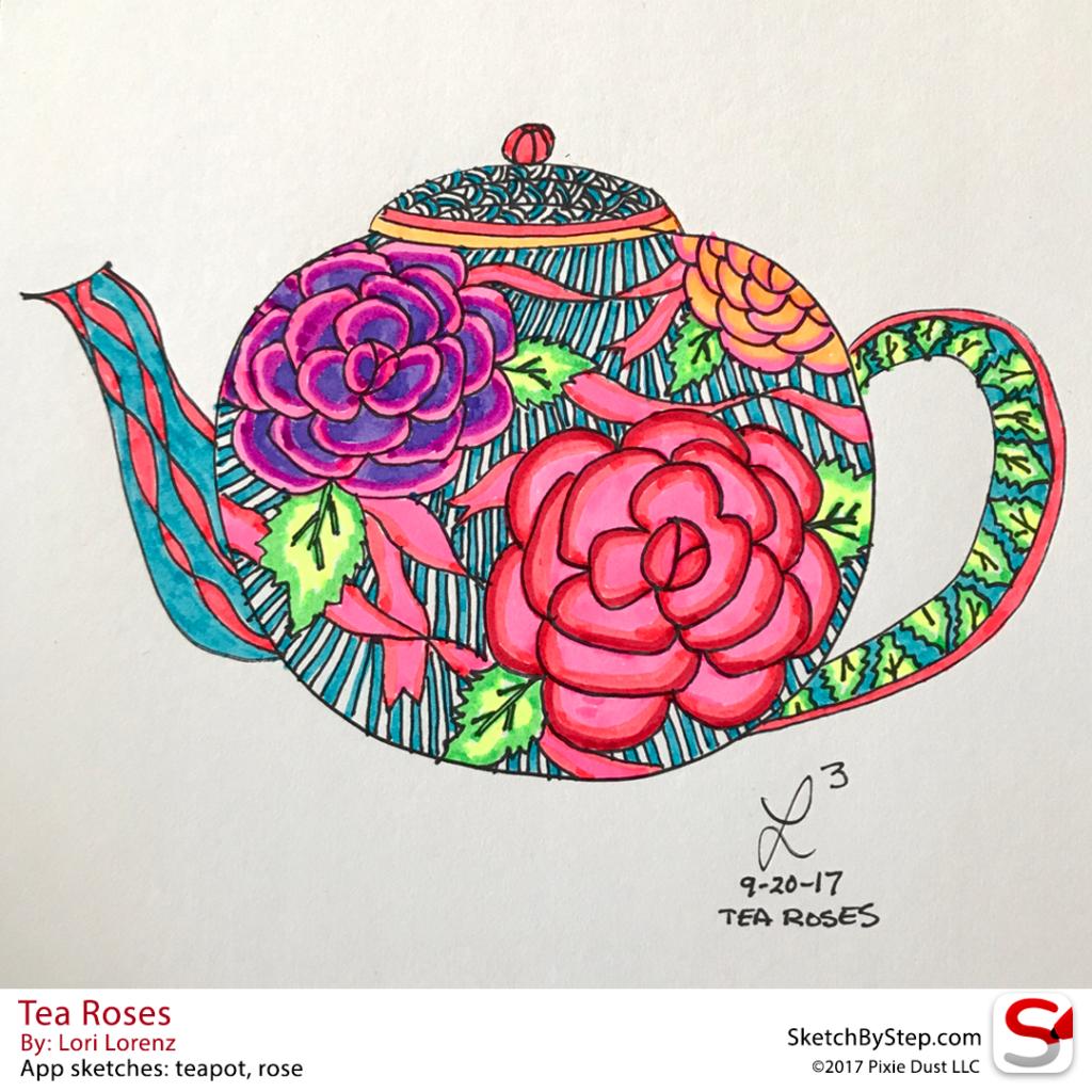 sketchbystep.com-Tea-Roses